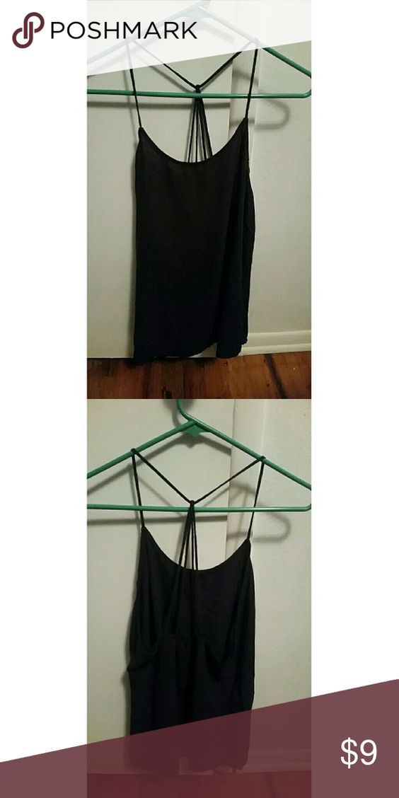 Black Strappy-Back Tank Super cute, black, tank top with 4-strap drape in the back. Lightweight & perfect for summer! Xhilaration Tops Tank Tops