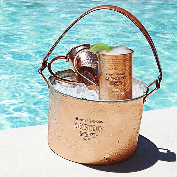 Be the life of the pool party. Keep your ginger beer and vodka chilled on the go in one of our 5qt Hammered Copper Ice Buckets.