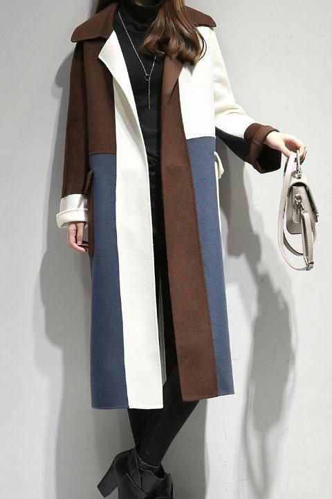 Chic Lapel Collar Woolen Color Blockking Plain Long Coat