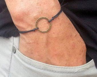 pulsera de los hombres de tubos de plata con cordón por BelovedMens