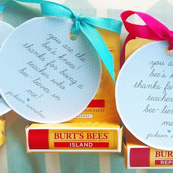 Teacher appreciation lip balm idea! Free teacher appreciation tags!: