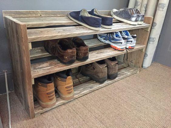 Handmade Reclaimed Pallet Wood Shoe Rack by ChewtonWoodDesign