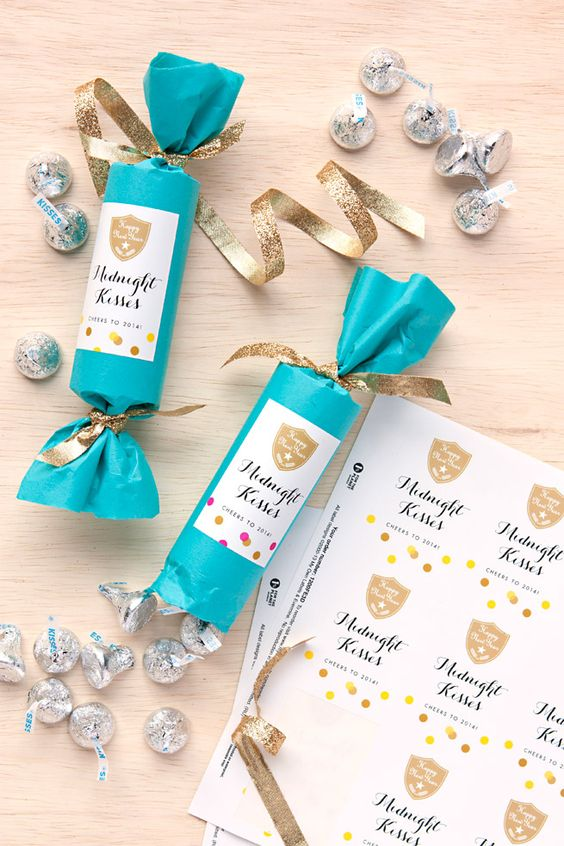 new year's eve party favors -midnight kisses {they're chocolate kisses!}