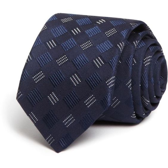 Boss Hugo Boss Dotted Three Line Skinny Tie (10795 RSD) ❤ liked on Polyvore featuring men's fashion, men's accessories, men's neckwear, ties and navy