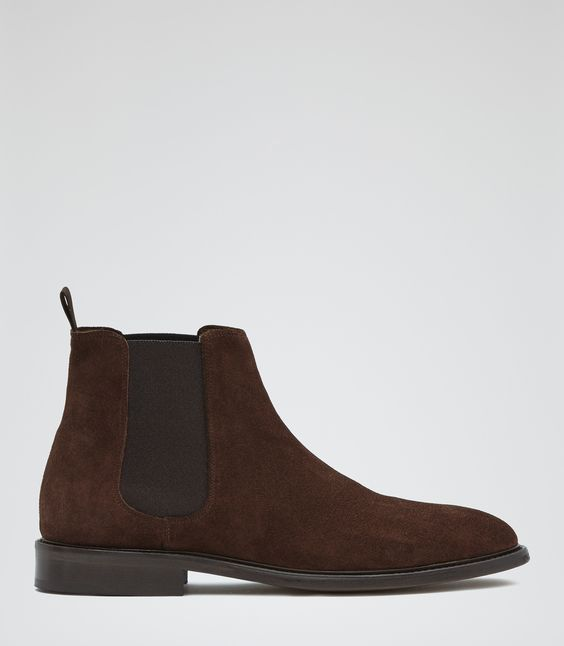 Mens Brown Suede Chelsea Boots - Reiss Tenor Suede