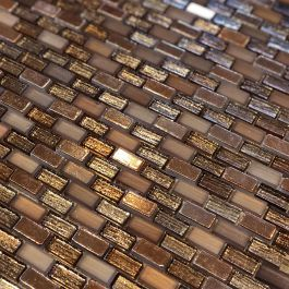 Luxe Copper Bronze Glass Mosaic In 2020 Glass Mosaic Tiles Bathroom Copper Wall Tiles Mosaic Glass
