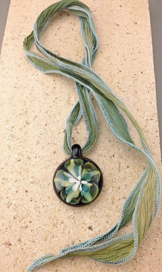 Borosilicate Glass Flower Pendant by GlassbyTammyRae on Etsy