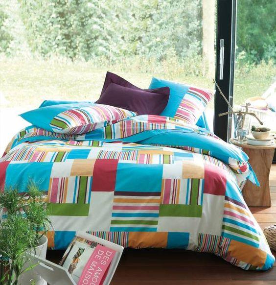 -60% sur cette #collection de linge de lit aux #couleurs vitaminées pour une cure de sérénité et de bonne humeur ! Collection Puzzle by Françoise Saget. #soldes #maison #déco #chambre #lit #drap #couette