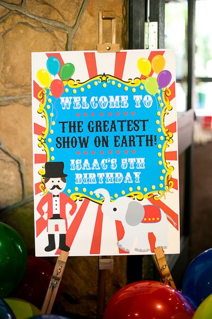 Carnival birthday welcome sign. You can make a picture file on the computer (free) and have it printed out on large paper at FedEx Kinko's (or any other print shop) for very cheap, then paste it to cardboard or canvas.