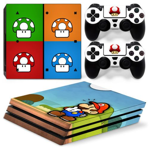 Super Mario Bros Ps4 Pro Console Amp 2 Controllers Decal Vinyl
