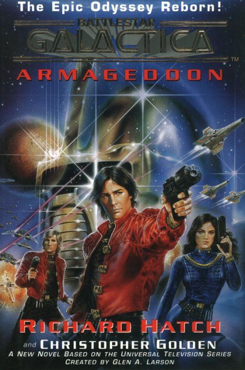 "Luis Royo's 'Battlestar Galactica' piece used as the cover to Richard Hatch's BG novel ""Armageddon""."