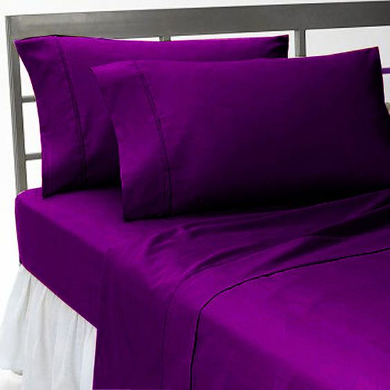 QUEEN VIOLET SOLID SHEET SET 100% EGYPTIAN COTTON 4 PIECE SET #Scala