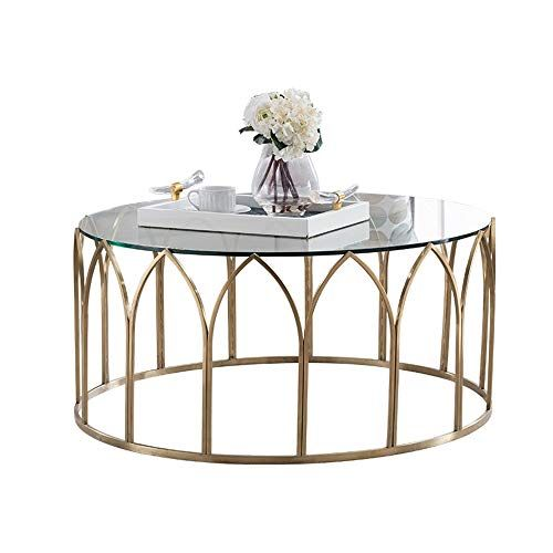 Round Living Room Small Wrought Iron Coffee Table Stainless Steel