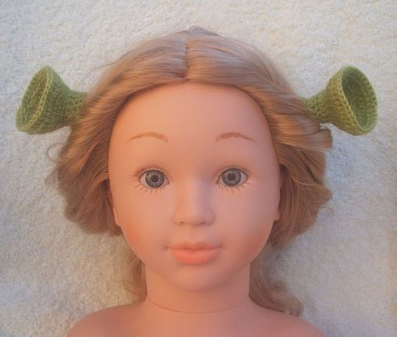 Princess Fiona easy to put on ears, make from 100% wool ( can match mans Shrek hat/beanie ).  These ears are crocheted from 100% wool, very easy to