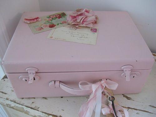 Pink Vintage Travel Case-vintage suitcase, vintage flower, vintage ribbons, vintage postcards, vintage skeleton key