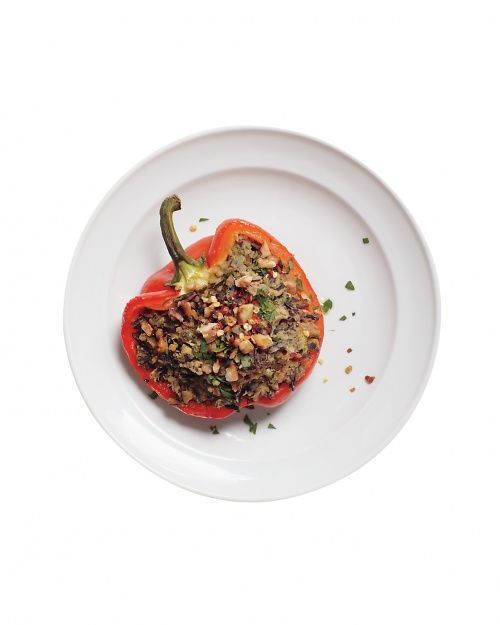 Stuffed Peppers with Wild Rice and Hummus, Wholeliving.com