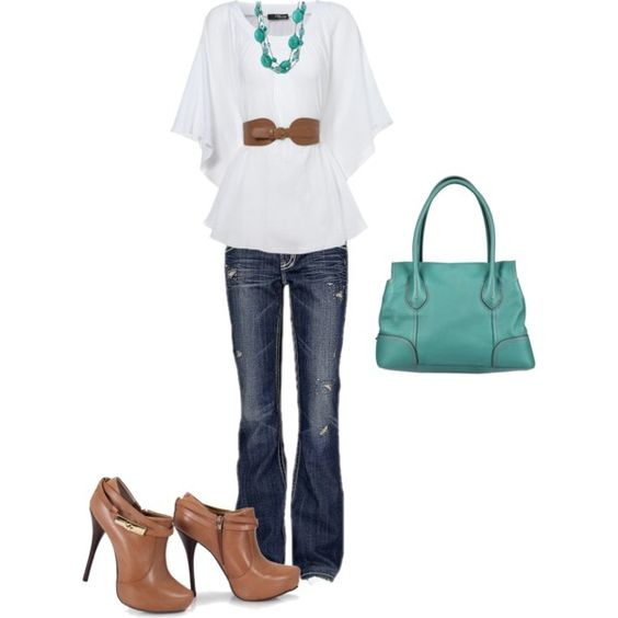 Brown & Turquoise, created by kmosser on Polyvore: Shoes, Brown Turquoise, Favorite Styles, Clothes, Beauty Style, Pinterest Closet 3, Accessories, Styles Fashion