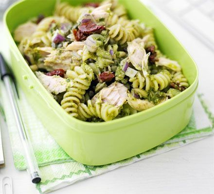 Storecupboard pasta salad. This pasta salad makes a quick and healthy lunch, or is perfect prepared ahead for a picnic or lunchbox