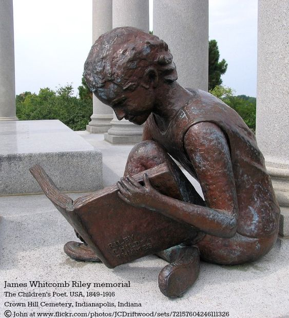 James Whitcomb RILEY memorial. The Children's Poet. USA, 1849-1916.  Crown Hill Cemetery, Indianapolis, Indiana. © John (Photographer)
