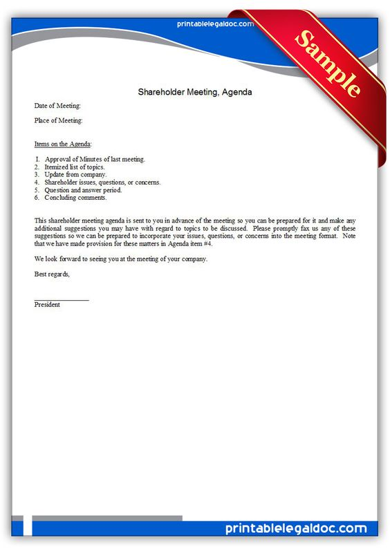 Printable shareholder meeting agenda Template PRINTABLE LEGAL - meeting agenda format