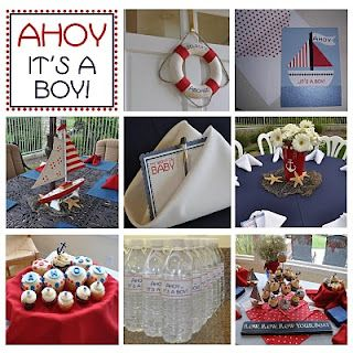 This Ahoy It's a Boy baby shower was full of deep reds, blues and super cute nautical decor.  The custom sailboat invitations set the stage for the perfect day.