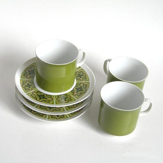 Sango China Cup & Saucer (1) Set - Aquarius Zanzibar Pattern - 1970s Dinnerware Avocado Colors - 3 Sets Available - Kitchen Ware Coffee