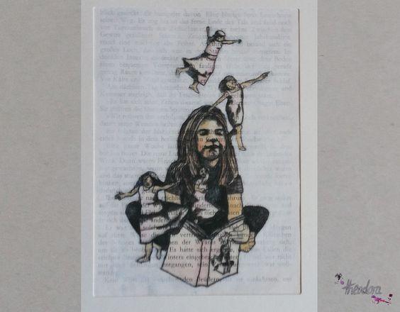 """""""Ich glaube doch an Feen! Ganz fest! Ganz fest!"""" (Peter Pan)  Ein upcycling Handruck für Bücher liebende Kunstfreunde und Kunst liebende Bücher Freunde, mit Aquarellfarben koloriert.  http://de.dawanda.com/product/91076727-ich-glaube-an-feenganz-fest-book-art"""