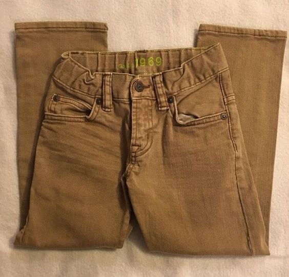 Gap Kids 1969 Jeans Beige Tan Adjustable Waist Denim Boy's Size 5 | eBay