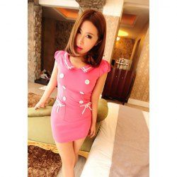 $10.65 Turndown Collar Sexy Double-Breasted Puff Sleeve Mini Dresses For Women