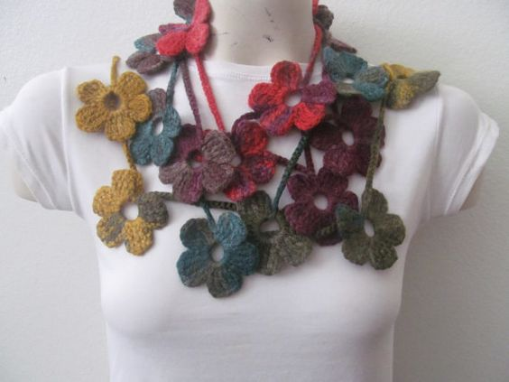 Crocheted Flower Scarf Lariat In Multicolored, Flower Scarf Necklace, Usa Seller