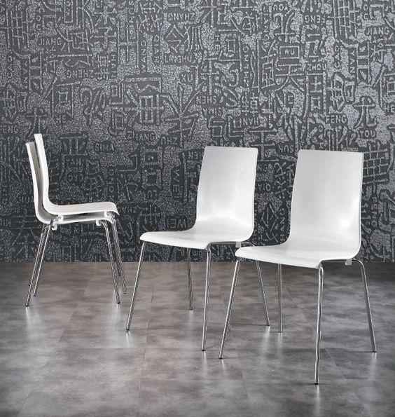 Chaise de salle à manger empilable design blanche PATTY, avec pieds en métal chromé, Chaise