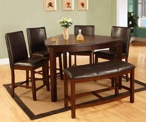 6 Pcs Dining Set Triangular Table Leatherette Chairs