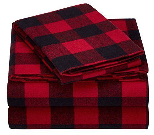 Pinzon Plaid Flannel Bed Sheet Set Blackwatch Plaid Twin