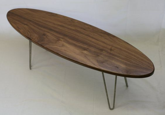 Handmade Mid-Century Modern Walnut Coffee Table with Hairpin Legs.  For sale on Etsy @ https://www.etsy.com/listing/214556697/the-longboard-walnut-mid-century-coffee?ref=shop_home_active_2