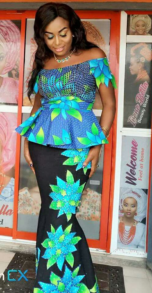 Off shoulders chitenge peplum dress. Kanyget fashions+