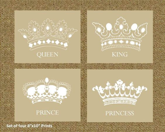 home decor prints of a king queen prince and princess