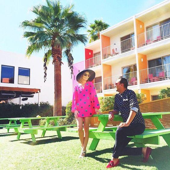 @kellygolightly in Palm Springs wearing the Moss tunic  www.rhoderesort.com