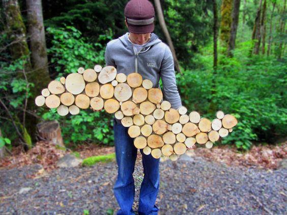 Abstract Headboard Wood sculpture Tree slice von WildSliceDesigns