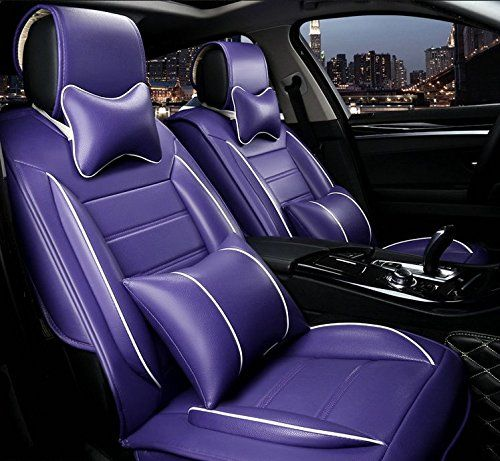 Ankiv Full Set Universal Fit 5 Seats Car Surrounded Solid Color Waterproof Leather Car Seat Covers Protector Leather Car Seat Covers Car Seats Car Seat Cushion