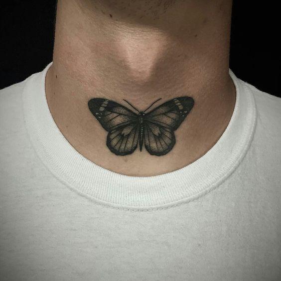Motten Tattoo Ideen Und Bedeutungen Diese 65 Tattoos Werden Sie Umhauen Throat Tattoo Neck Tattoo Butterfly Tattoo