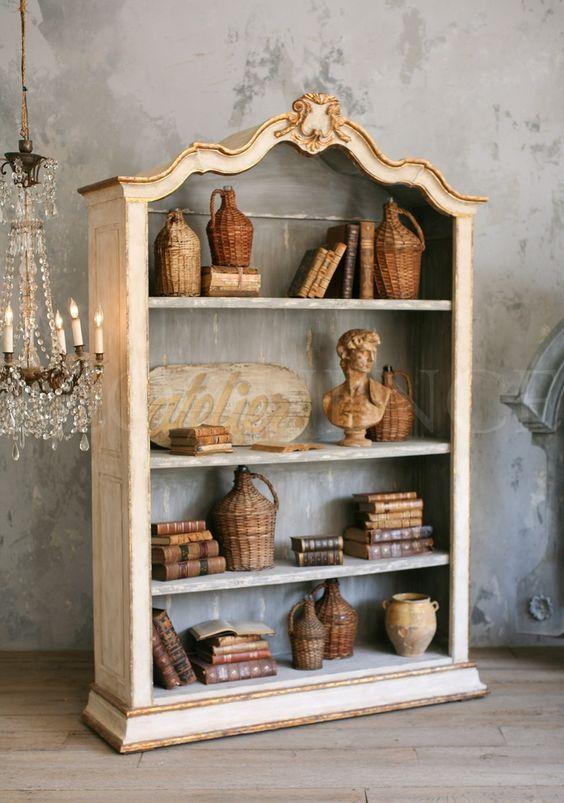 Rousseau bookcase. Swedish decor inspiration, French and Gustavian Design Style from Eloquence. #swedish #interiordesign #frenchcountry #gustavian #nordic #decoratingideas #whitedecor #eloquence #furniture