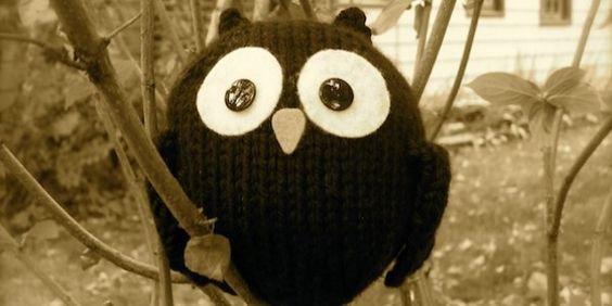 #Free pattern; knit; little black owl ~~