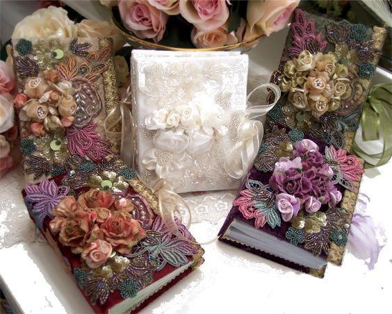 Romantic Victorian Splendor Hand Decorated  Photo Album-Victorian Album, Photo, Velvet, Silk, Roses, Antique