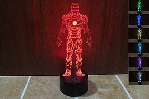 Lionking Usa New Year Sale Iron Man 3d Optical Illusion Multicolored Change Touch Botton Table Light 3d A Nursery Night Light 3d Optical Illusions 3d Led Lamp