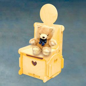 """Valet Chair/Storage DIY Woodcraft Pattern #2000 - Easy to assemble. No tools or hardware required. Just slide the pieces together for a sturdy attractive valet chair and storage for your dolls. 21""""H x 11""""W x 10""""D. Pattern by Sherwood Creations #woodworking #woodcrafts #pattern #craft #doll #furniture #chair"""