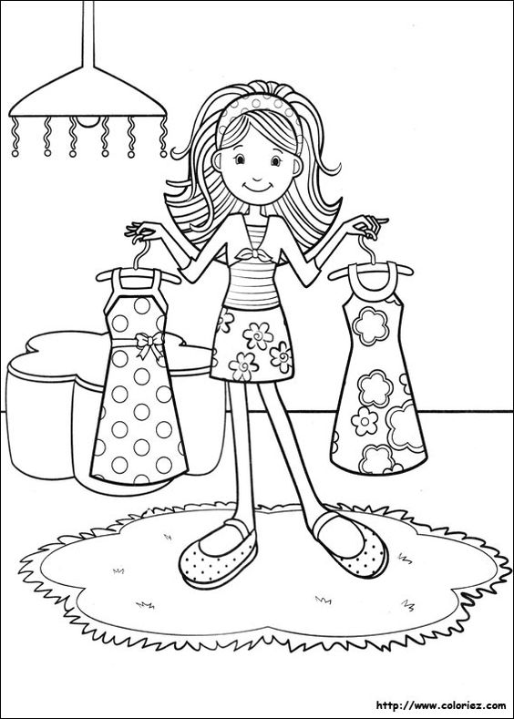 Groovy girls dressing up coloring pages pinterest for Dessin dressing
