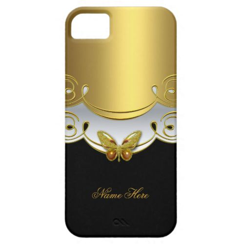 iPhone 5 Gold Black White Butterfly iPhone 5 Cases