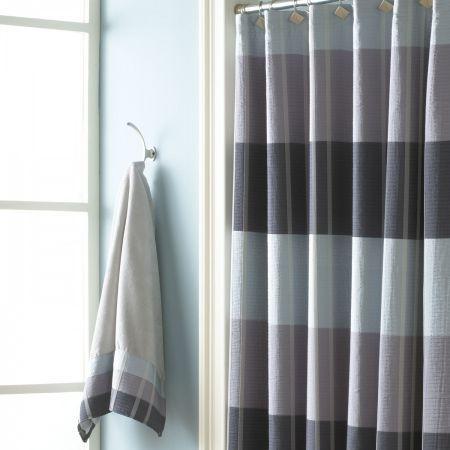 Croscill Fairfax Slate Shower Curtain Contemporary Horizontal Woven Stripes Of Charcoal Grey