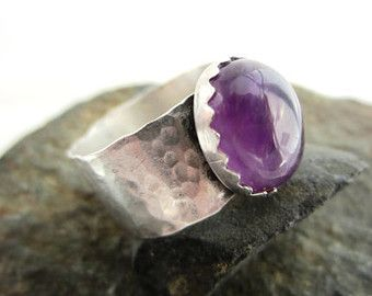 Verkauf war 40.00 5,2 ct Natural Amethyst 925er Silber gehämmert Band Ring