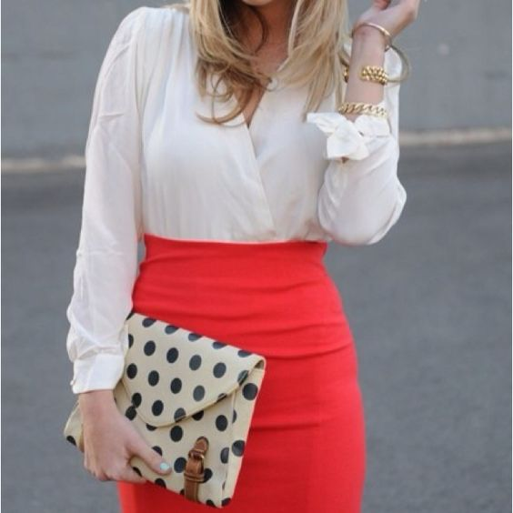 Love the polka dot clutch with this color combo.